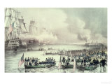 Landing of the American Force at Vera Cruz, Under General Scott, March, 1847 Giclee Print by  Currier & Ives