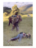 A Lonely Duel in the Middle of a Great Sunny Field Giclee Print by Howard Pyle