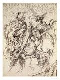 La tentazione di Sant'Antonio Stampa giclée di Martin Schongauer
