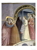 The Meeting at the Golden Gate, Detail of Joachim and St. Anne Embracing, circa 1305 Giclee Print by  Giotto di Bondone