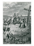 Jacques Cartier Setting up a Cross at Gaspe Giclee Print by Howard Pyle