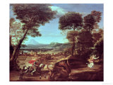 Landscape with St.George and the Dragon, circa 1610 Giclée-tryk af Domenichino