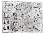 "The Kingdom of Ireland, ""Theatre of the Empire of Great Britain"", 1610 Premium Giclee Print by John Speed"