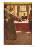 Mary Dyer Brought Before Governor Endicott Giclee Print by Howard Pyle