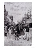 Along the Water Front in Old New York Premium Giclee Print by Howard Pyle