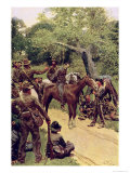 They Talked It Over - with Me Sitting on the Horse Giclee Print by Howard Pyle