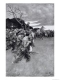 His Army Broke up and Followed Him, Weeping and Sobbing Premium Giclee Print by Howard Pyle
