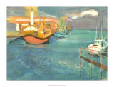 Boats in Harbor I Poster by George Lambert