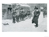 The Puritan Governor Interrupting the Christmas Sports Giclee Print by Howard Pyle