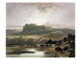 Herd of Bison on the Upper Missouri Giclee Print by Karl Bodmer