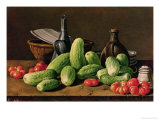 Still Life with Cucumbers and Tomatoes Giclee Print by Luis Egidio Melendez