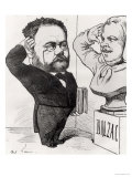 Caricature of Emile Zola Saluting a Bust of Honore de Balzac 1878 Giclee Print by André Gill