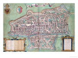 "Map of Augsburg, from ""Civitates Orbis Terrarum"" by Georg Braun and Frans Hogenberg, circa 1572 Giclee Print by Joris Hoefnagel"