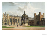 "Court of Trinity College, Cambridge, from ""The History of Cambridge"", Pub. by R. Ackermann, 1815 Reproduction procédé giclée par William Westall"