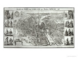 Bird&#39;s Eye Plan of Paris, 1615 Giclee Print by Matthaus Merian The Elder