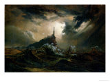 Stormy Sea with Lighthouse Premium Giclee Print by Karl Blechen