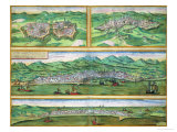 "Map of Parma, Siena, Palermo, and Drepanum, from ""Civitates Orbis Terrarum"", circa 1572 Giclee Print by Joris Hoefnagel"