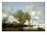 River Landscape, 1645 Gicl&#233;e-Druck von Salomon van Ruysdael