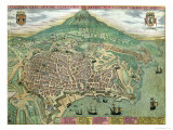 "Map of Catania, from ""Civitates Orbis Terrarum"" by Georg Braun and Frans Hogenberg, circa 1572 Giclee Print by Joris Hoefnagel"