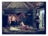 English Mare with Her Foals, 1833 Lámina giclée por Albrecht Adam