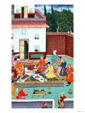 Mughal Emperor Feasting in a Courtyard, from the Baburnama of Dhanraj, circa 1591 Giclee Print