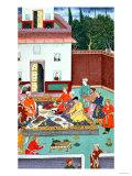 Mughal Emperor Feasting in a Courtyard, from the Baburnama of Dhanraj, circa 1591 Giclee Print