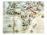 Add 24065: Detail of a Map of the World Showing Africa, 1550 Giclee Print by Pierre Descaliers