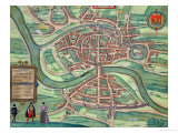"Map of Bristol, from ""Civitates Orbis Terrarum"" by Georg Braun and Frans Hogenberg circa 1572-1617 Giclee Print by Joris Hoefnagel"