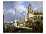 Trinita Dei Monti and the Villa Medici, Rome, 1808 Giclee Print by Francois-Marius Granet
