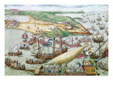 The Siege of Tunis or La Goulette by Charles V in 1535 Giclee Print by Franz Hogenberg
