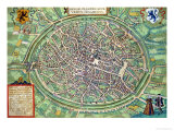 "Town Plan of Bruges, from ""Civitates Orbis Terrarum"" by Georg Braun and Frans Hogenburg, circa 1572 Giclee Print by Joris Hoefnagel"
