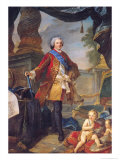 Louis Dauphin of France with a Plan of the Siege of Tournai, 1747 Giclee Print by Charles Joseph Natoire