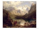 An Extensive Alpine Lake Landscape, 1862 Giclee Print by Augustus Wilhelm Leu