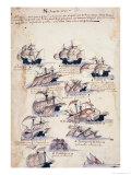 "Pedro Alvares Cabral Arriving in Brazil in 1500, from ""Libro Dea Armadas"", Giclee Print"