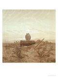 Landscape with Grave, Coffin and Owl Giclee Print by Caspar David Friedrich