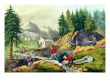 Gold Mining in California, Published by Currier & Ives, 1861 Giclee Print by Grafton Tyler Brown