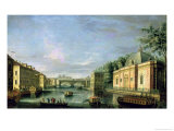 View of the Fontanka River in St. Petersburg, 1750s Giclee Print by Giuseppe Valeriani