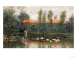 The Pond of William Morris Works at Merton Abbey Giclee Print by Lexden L. Pocock