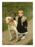 Young Child and a Big Dog Giclee Print by Luigi Toro