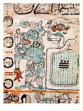 Detail from a Mayan Codex Giclee Print