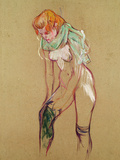 Woman Pulling up Her Stocking, 1894 Reproduction proc&#233;d&#233; gicl&#233;e par Henri de Toulouse-Lautrec