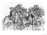 "A Group of Mounted Trumpeters, from ""Maximilian's Triumphal Procession"", circa 1516-18 Giclee Print by Hans Burgkmair"