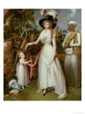Mrs Graham of Kinross, Her Daughter and a Jamadar, circa 1786 Giclee Print by John Alefounder