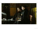 Alphonse Daudet and His Wife in Their Study, 1883 Giclee Print by Louis Montegut