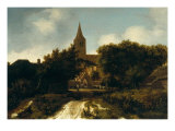 Wooded Landscape with Figures Near a Church, circa 1660 Giclee Print by Meindert Hobbema