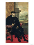 Seated Portrait of Emperor Charles V 1548 Giclee Print by Titian (Tiziano Vecelli) 