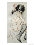 Paulette Reading Sitting on Her Toy Dog Giclee Print by Paul César Helleu