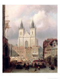 The Old Market Place at Prague, 1881 Premium Giclee Print by Christiaan Cornelis Dommelshuizen