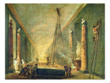 View of the Grand Gallery of the Louvre During Restoration, 1798-99 Giclee Print by Hubert Robert