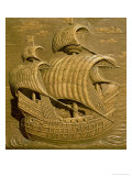 Relief Depicting a Venetian Galleon from the Tomb of Alessandro Contarini Gicl&#233;e-Druck von Alessandro Vittoria